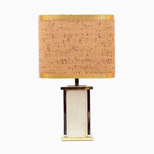 Große Travertin & Messing Tischlampe von Gaetano Sciolari, 1973