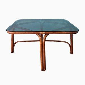 Table Basse Vintage en Bambou et Verre, 1970s