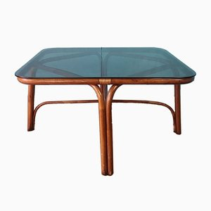 Vintage Bamboo & Glass Coffee Table, 1970s