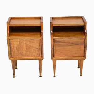 Vintage Italian Walnut Bedside Cabinets, 1960s, Set of 2