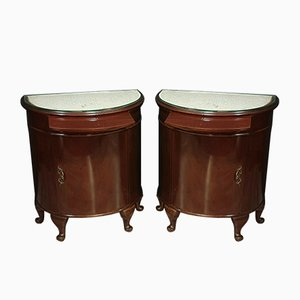 English Half Moon Mahogany Nightstands, Set of 2