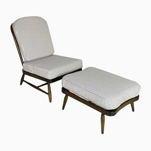 Chair & Footstool by Lucian Ercolani for Ercol, 1970s, Set of 2