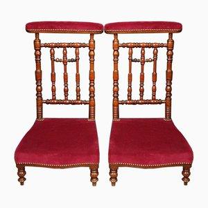 Napoleon III Beistellstühle aus Nussholz & Samt, 2er Set
