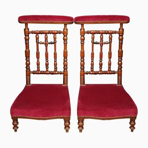 Napoleon III Walnut and Velvet Side Chairs, Set of 2