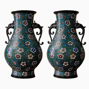 Antique Asian Cloisonné Enamel & Bronze Handle Vases, Set of 2