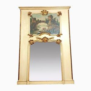 Miroir Louis XV Antique en Bois Peint et Doré