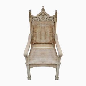 Antique English Oak Throne Chair