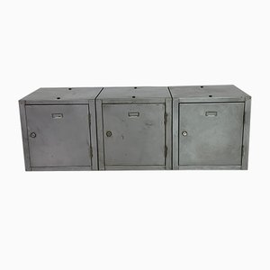 Industrial Stripped and Polished Steel Lockers, Set of 3