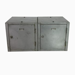 Vintage Industrial Stripped and Polished Steel Lockers, Set of 2