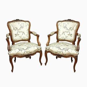 Louis XV Walnut Armchairs, Set of 2
