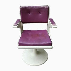 Desk Chair with Purple & White Plastic on Tulip Base, 1970s
