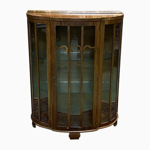 English Art Deco Walnut Showcase