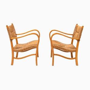 Skandinavische Mid-Century Armlehnstühle aus Buche, 2er Set