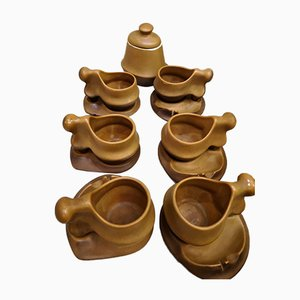 Organic Sculptural Coffee Set with Sugar Bowl from Faianta Sighisoara, 1970s, Set of 13