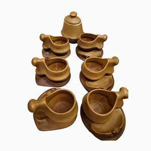 Set da caffè scultoreo organico di Faianta Sighisoara, anni '70, set di 13