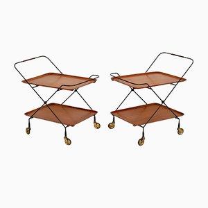 Vintage Swedish Teak Side Tables or Trolleys, 1960s, Set of 2