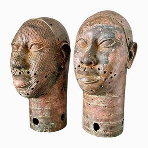 Vintage Benin Bronze Heads, Set of 2