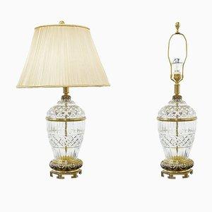 Lampes de Bureau Vintage en Bronze et en Verre Taillé, 1980s, Set de 2