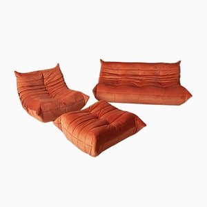 Vintage Orange Velvet Togo Living Room Set by Michel Ducaroy for Ligne Roset, 1970s
