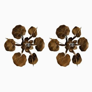 Water Lilies Sconces from Maison Baguès, 1970s, Set of 2