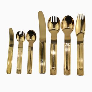 24k Gilded Culinar Cutlery by Carl Auböck for Collini, 1970s, Set of 7