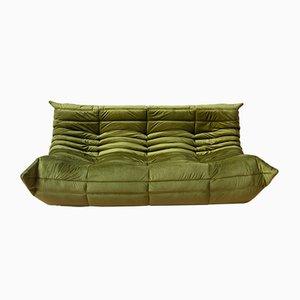 Green Velvet Togo 3-Seater Sofa by Michel Ducaroy for Ligne Roset, 1970s