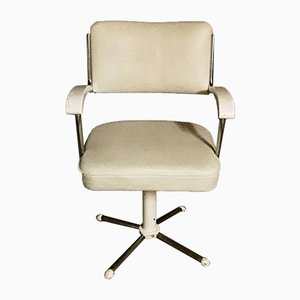 Swiveling Tubular Steel Chair with White Leatherette Upholstery, 1950s