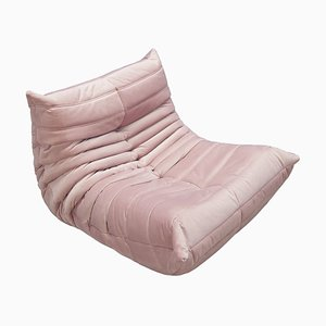 Togo Pink Velvet Lounge Chair by Michel Ducaroy for Ligne Roset, 1970s