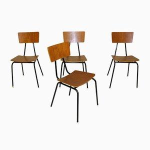 Dänische Teak & Metall Esszimmerstühle, 1960er, 4er Set