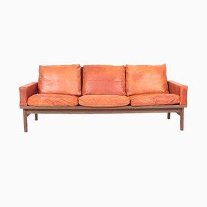 Mid-Century Sofa aus Patiniertem Leder von Erik Jørgensen, 1960er
