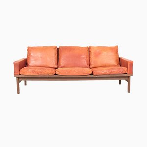 Mid-Century Sofa in Patinated Leather by Erik Jørgensen, 1960s