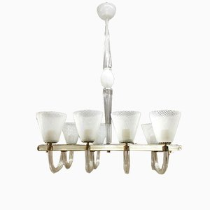 Mid-Century Italian Murano Glass and Brass Reticello Chandelier from Venini, 1940s