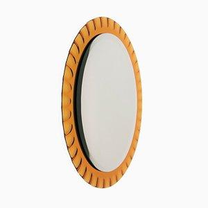 Specchio a muro vintage con luce di Fontana Arte, Italia, anni '50