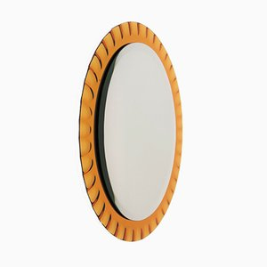 Vintage Italian Wall Mirror with Polished Edge from Fontana Arte, 1950s