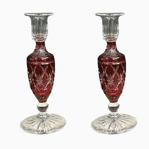 Chiseled Crystal Candle Holders from Saint Louis, 1930s, Set of 2
