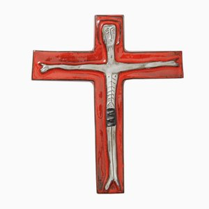 Belgian Ceramic Crucifix from Perignem, 1960s