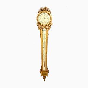 Antiker Louis XVI Barometer aus vergoldetem Holz