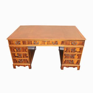 Yew Wood Pedestal Desk with Brown Leather Top and Key, 1960s