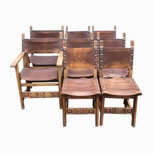 French Golden Oak & Leather Dining Chairs, Brittany, 1920s, Set of 8