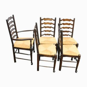 Oak Ladder Back Dining Chairs with Rush Seats, 1920s, Set of 5
