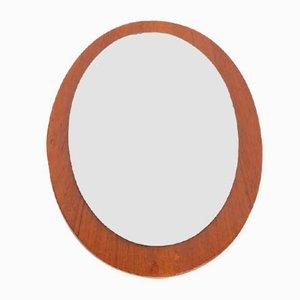 Vintage Teak Scandinavian Oval Mirror