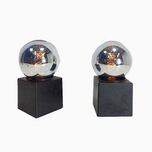Versilberte niederländische Vintage Tischlampen von Philips, 1970er, 2er Set