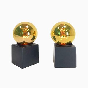 Space Age Gold Mirror Table Lamps from Philips, 1970s, Set of 2