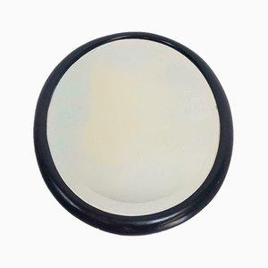 Vintage Black Teak Oval Mirror