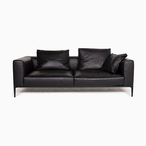 Black Leather Jaan 3-Seat Sofa from Walter Knoll