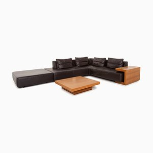 Dark Brown Leather Modular Sofa & Coffee Table from Ewald Schillig