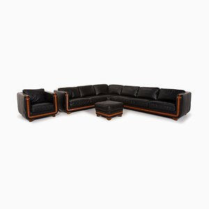 Black Leather Corner Sofa, Armchair & Ottoman from Nieri, Set of 3