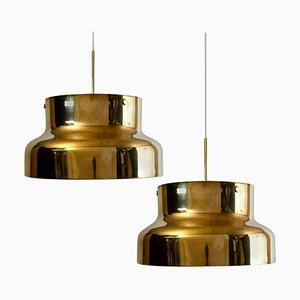 Golden Solid Brass Bumling Pendant Lamps by Anders Pehrson for Atelje Lyktan, 1960s, Set of 2