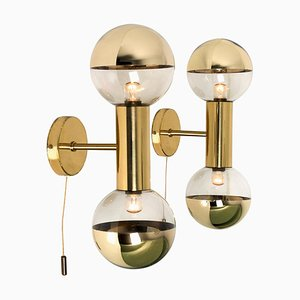 Brass Wall Sconces by Motoko Ishii for Staff, 1970s, Set of 2