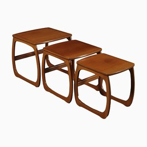 Small English Teak Veneer Nesting Tables, 1960s